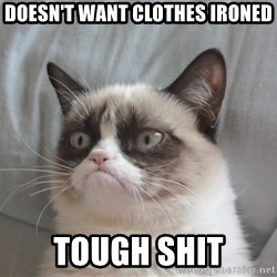 grump cat un - Doesn't want clothes ironed tough shit