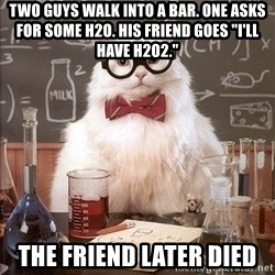 "Chemistry Cat - two guys walk into a bar. one asks for some h2O. His friend goes ""i'll have h2O2."" the friend later died"