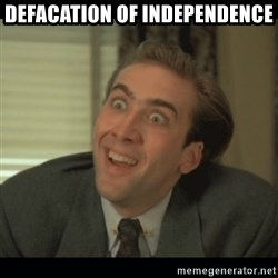 Nick Cage - defacation of independence