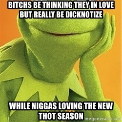 Kermit the frog - Bitchs be thinking they in love but really be DICKNOTIZE While niggas loving the new THOT season