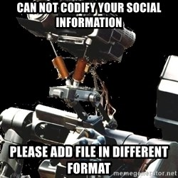 Asperger Robot - Can not codify your social information please add file in different format
