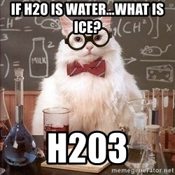 Chemistry Cat - if H20 is water...what is ice? H203