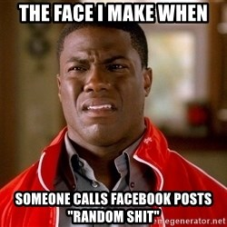 """Kevin hart too - the face I make when someone calls facebook posts """"random shit"""""""