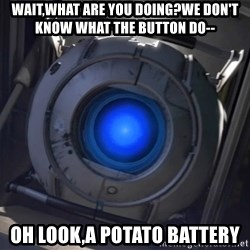 Portal Wheatley - wait,what are you doing?we don't know what the button do-- Oh look,a potato battery