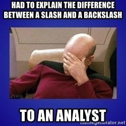 Picard facepalm  - had to explain the difference between a slash and a backslash  to an ANALYST