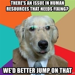 Business Dog - There's an issue in human resources that needs fixing? We'd better jump on that
