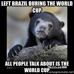 sad bear - left brazil during the world cup all people talk about is the world cup