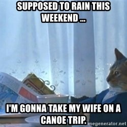 newspaper cat realization - Supposed to rain this weekend ... I'm gonna take my wife on a canoe trip.