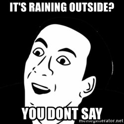 you don't say meme - it's raining outside? you dont say