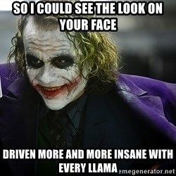 joker - so i could see the look on your face driven more and more insane with every llama