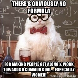 Chemistry Cat - there's obviously no formula for making people get along & work towards a common goal ... especially WOMen!
