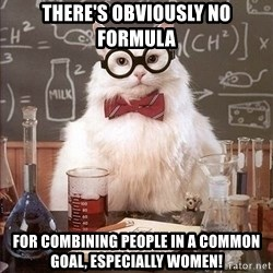 Chemistry Cat - there's obviously no formula for combining people in a common goal, especially women!