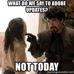 Not today arya - what do we say to adobe updates? not today
