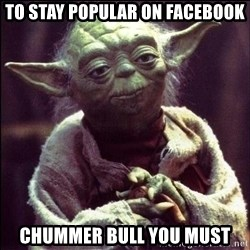 Advice Yoda - TO STAY POPULAR ON FACEBOOK CHUMMER BULL YOU MUST