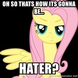 Fluttershy  - oh so thats how its gonna be... hater?