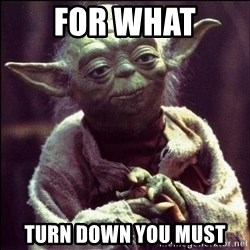 Advice Yoda - for what turn down you must