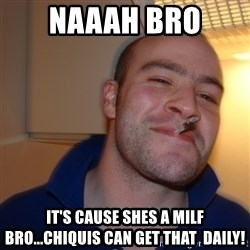 Good Guy Greg - naaah bro it's cause shes a milf bro...chiquis can get that  daily!