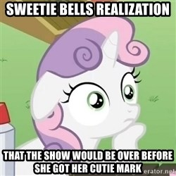 Sudden Clarity Sweetie Belle - Sweetie bells realization That the show would be over before she got her cutie mark