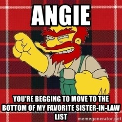 Angry Scotsman - ANGIE You're begging to move to the bottom of my favorite sister-in-law list