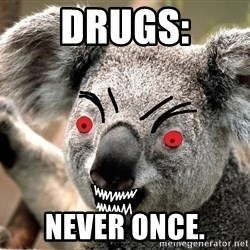 Abortion Koala - Drugs: never once.