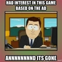 aaaand its gone - had interest in this game based on the ad annnnnnnnd its gone
