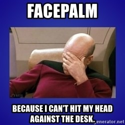 Picard facepalm  - FACEPALM BECAUSE I CAN'T HIT MY HEAD AGAINST THE DESK.