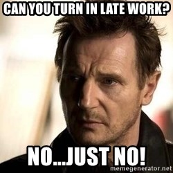 Liam Neeson meme - Can you turn in late work? No...Just NO!