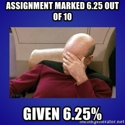 Picard facepalm  - assignment marked 6.25 out of 10 Given 6.25%