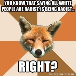 Condescending Fox - You know that saying all white people are racist, is being racist... Right?