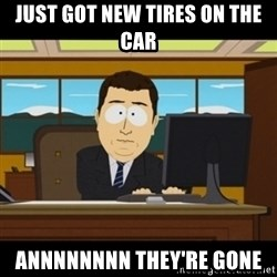 and they're gone - Just got new tires on the car Annnnnnnn they're gone