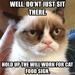 Grumpy Cat 2 - well, do'nt just sit there. hold up the will work for cat food sign.