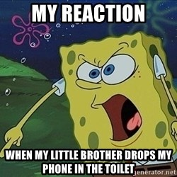 Spongebob Rage - My reaction when my little brother drops my phone in the toilet