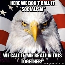 "Patriotic Eagle - Here we don't call it ""socialism"" We call it ""We're all in this together!"""