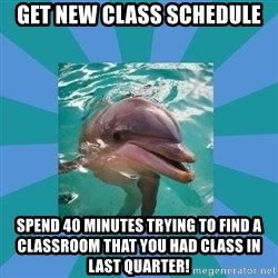 Dyscalculic Dolphin - Get new class schedule spend 40 minutes trying to find a classroom that you had class in last quarter!