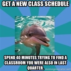 Dyscalculic Dolphin - Get a new Class schedule spend 40 minutes trying to find a classroom you were also in last quarter.