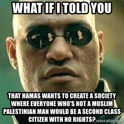 What if I told you / Matrix Morpheus - what if I told you that hamas wants to create a society where everyone who's not a muslim Palestinian man would be a second class citizen with no rights?