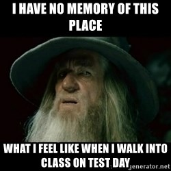 no memory gandalf - I have no memory of this place what i feel like when i walk into class on test day