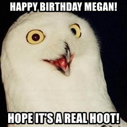 O Rly Owl - Happy Birthday Megan! Hope it's a real hoot!