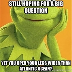 Kermit the frog - still hoping for a big question yet you open your legs wider than atlantic ocean?