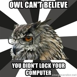 ITCS Owl - Owl can't believe you didn't lock your computer