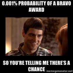 Lloyd-So you're saying there's a chance! - 0.001% probability of a bravo award so you're telling me there's a chance