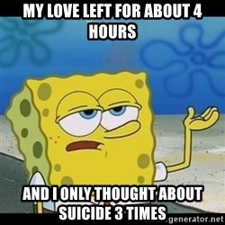 Spongebob only cry - My love left for about 4 hours And I only thought about suicide 3 times
