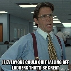 That'd be great guy -  If everyone could quit falling off ladders that'd be great