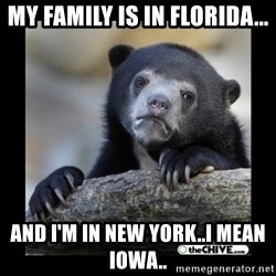 sad bear - My family is in Florida... And I'm in New York..I mean Iowa..