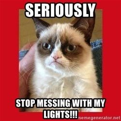 No cat - seriously stop messing with my lights!!!