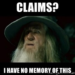 no memory gandalf - Claims?  I have no memory of this