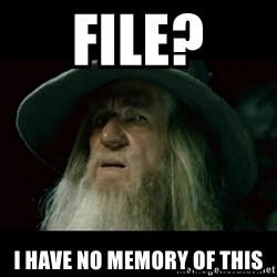 no memory gandalf - File? I have no memory of this