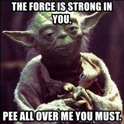 Advice Yoda - the force is strong in you. pee all over me you must.