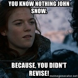 Ygritte knows more than you - You know nothing John Snow. Because, you didn't revise!