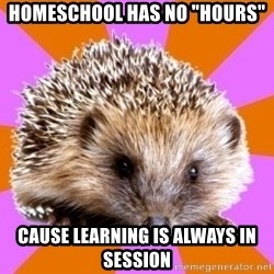 "Homeschooled Hedgehog - Homeschool Has No ""Hours"" cause Learning is always in session"